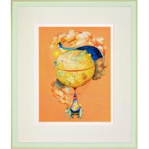 絵画 リトグラフ インテリア 壁掛け (額縁 アートフレーム付き) 堀 乃布子作 「おやすみ太陽」 四ツ切サイズ|touo