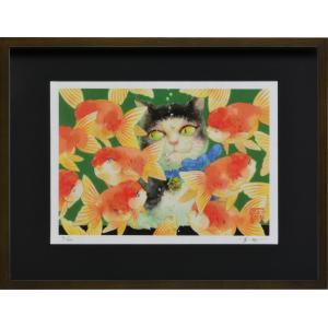 絵画 ジークレー版画 インテリア 壁掛け (額縁 アートフレーム付き) 岩本夏樹作 「よりどりみどり」 太子サイズ|touo