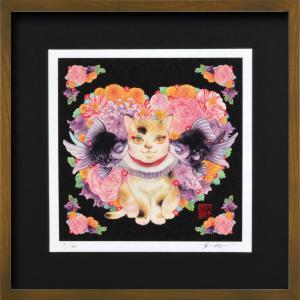 絵画 ジークレー版画 インテリア 壁掛け (額縁 アートフレーム付き) 岩本夏樹作 「内緒の花祭り」 300画サイズ|touo