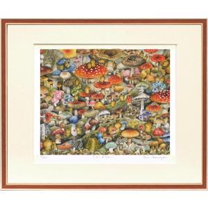 絵画 ジークレー版画 インテリア 壁掛け (額縁 アートフレーム付き) とみなが まい作 「きのこみちのこ」|touo