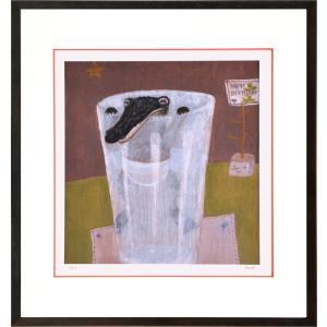 絵画 リトグラフ インテリア 壁掛け (額縁 アートフレーム付き) まつもととしこ作 「泳ぐ練習」 四ッ切サイズ|touo