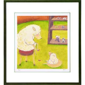 絵画 リトグラフ インテリア 壁掛け (額縁 アートフレーム付き) まつもととしこ作 「ママのコレクション」 四ッ切サイズ|touo