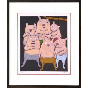 絵画 リトグラフ インテリア 壁掛け (額縁 アートフレーム付き) まつもととしこ作 「ウインナーの冒険」 四ッ切サイズ|touo