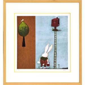 絵画 リトグラフ インテリア 壁掛け (額縁 アートフレーム付き) まつもととしこ作 「ポスト」 四ッ切サイズ|touo