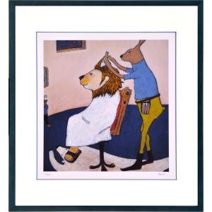 絵画 リトグラフ インテリア 壁掛け (額縁 アートフレーム付き) まつもととしこ作 「王様気分」 四ッ切サイズ|touo