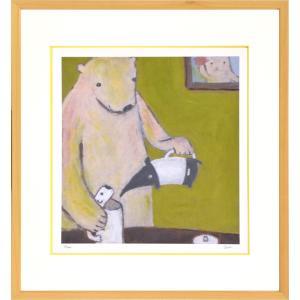 絵画 リトグラフ インテリア 壁掛け (額縁 アートフレーム付き) まつもととしこ作 「白くまポット」 四ッ切サイズ|touo
