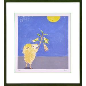 絵画 リトグラフ インテリア 壁掛け (額縁 アートフレーム付き) まつもととしこ作 「願い事」 四ッ切サイズ|touo