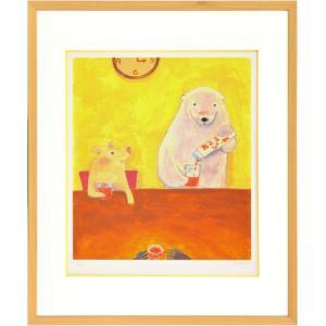 絵画 リトグラフ インテリア 壁掛け (額縁 アートフレーム付き) まつもととしこ作 「みかんジュース」 四ッ切サイズ|touo