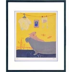絵画 リトグラフ インテリア 壁掛け (額縁 アートフレーム付き) まつもととしこ作 「お兄ちゃんは疲れる」 四ッ切サイズ|touo
