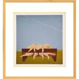 絵画 リトグラフ インテリア 壁掛け (額縁 アートフレーム付き) まつもととしこ作 「ある夏の日」 四ッ切サイズ|touo
