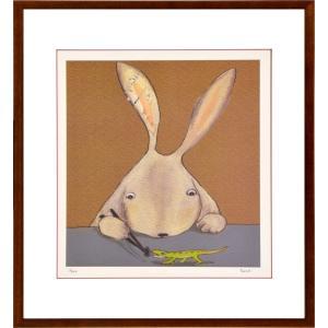 絵画 リトグラフ インテリア 壁掛け (額縁 アートフレーム付き) まつもととしこ作 「ご飯だよ」 四ッ切サイズ|touo