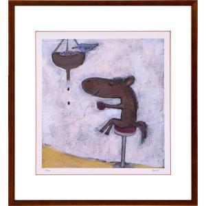 絵画 リトグラフ インテリア 壁掛け (額縁 アートフレーム付き) まつもととしこ作 「コーヒー」 四ッ切サイズ|touo