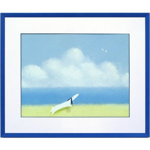 絵画 インテリア アートポスター 壁掛け (額縁 アートフレーム付き) 葉 祥明作 「海を見ていたジェイク」|touo