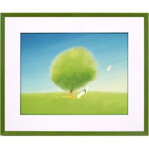 絵画 インテリア アートポスター 壁掛け (額縁 アートフレーム付き) 葉 祥明作 「ジェイクと空気の精」|touo
