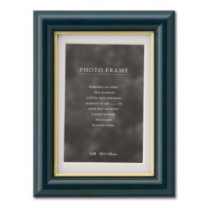 額縁 フォトフレーム 写真立て 木製フレーム C018 L ブルー|touo
