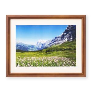 額縁 フォトフレーム 写真額縁 木製フレーム ミモザ サイズ4切 ブラウン|touo