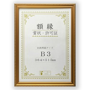 賞状額縁 フレーム 許可証額縁 金消 -R PET B3サイズ 箱入|touo