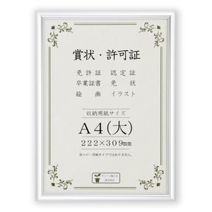賞状額縁 フレーム 許可証額縁 オールライト PET A4サイズ 箱入|touo