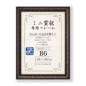 額縁 賞状額 許可証額 OA額 ミニ金ラック PET 上下箱 B6サイズ ブラウン|touo