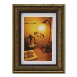 額縁 フォトフレーム 写真立て 木製フレーム エビネ L ブラウン|touo