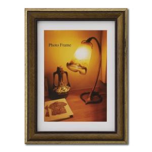 額縁 フォトフレーム 写真立て 木製フレーム エビネ サイズ2L ブラウン|touo