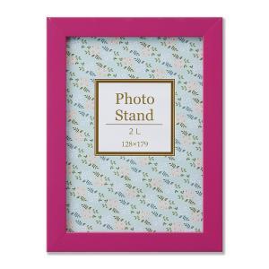 額縁 フォトフレーム 写真立て 樹脂製フレーム プレーヌ サイズ2L ピンク touo
