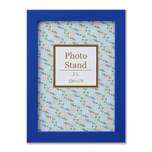 額縁 フォトフレーム 写真立て 樹脂製フレーム プレーヌ サイズ2L ブルー touo