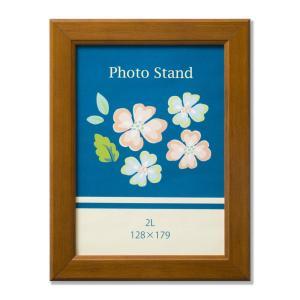 額縁 フォトフレーム 写真立て 木製フレーム ポニー サイズ2L ブラウン touo