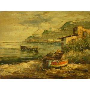 ヨーロッパ絵画 油絵 肉筆絵画 壁掛け (額縁 アートフレーム付きで納品対応可) サイズF6号 コルシニ作 「ナポリの港」|touo