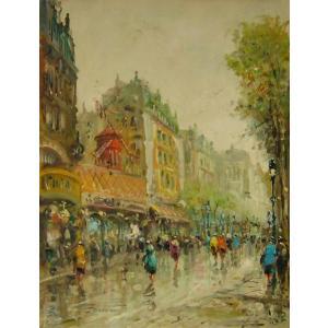 ヨーロッパ絵画 油絵 肉筆絵画 壁掛け (額縁 アートフレーム付きで納品対応可) サイズF6号 デモニ作 「パリの街角」|touo