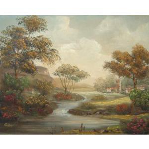 ヨーロッパ絵画 油絵 肉筆絵画 壁掛け (額縁 アートフレーム付きで納品対応可) サイズF6号 イエラー作 「森の小川」|touo
