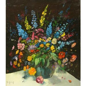 ヨーロッパ絵画 油絵 肉筆絵画 壁掛け (額縁 アートフレーム付きで納品対応可) サイズF10号サイズ ガスト作 「花瓶の花束」|touo