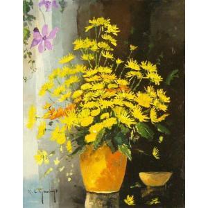 ヨーロッパ絵画 油絵 肉筆絵画 壁掛け (額縁 アートフレーム付きで納品対応可) サイズF6号 ガスト作 「花瓶の花束」|touo