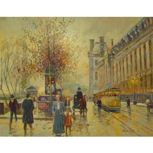 ヨーロッパ絵画 油絵 肉筆絵画 壁掛け (額縁 アートフレーム付きで納品対応可) サイズF6号 カウフ作 「パリの街角」|touo