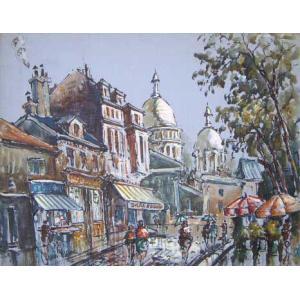 ヨーロッパ絵画 油絵 肉筆絵画 壁掛け (額縁 アートフレーム付きで納品対応可) サイズF6号 マニュエル作 「パリの街角」|touo