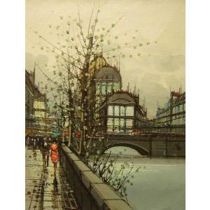 ヨーロッパ絵画 油絵 肉筆絵画 壁掛け (額縁 アートフレーム付きで納品対応可) サイズF6号 ニネッティー作 「パリの街角」|touo