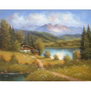 ヨーロッパ絵画 油絵 肉筆絵画 壁掛け (額縁 アートフレーム付きで納品対応可) サイズF6号 ポール作 「山小屋」|touo