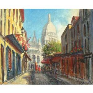 ヨーロッパ絵画 油絵 肉筆絵画 壁掛け (額縁 アートフレーム付きで納品対応可) サイズF6号 ペチャウベス作 「パリの街角」 touo