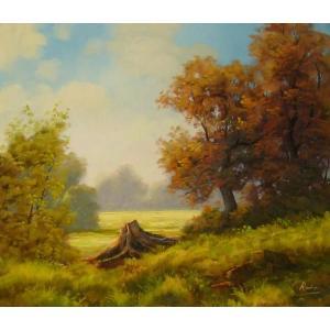 ヨーロッパ絵画 油絵 肉筆絵画 壁掛け (額縁 アートフレーム付きで納品対応可) サイズF10号サイズ ラディシー作 「草原」|touo