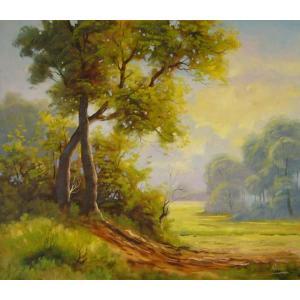 ヨーロッパ絵画 油絵 肉筆絵画 壁掛け (額縁 アートフレーム付きで納品対応可) サイズF10号サイズ ラディシー作 「木漏れ日」|touo
