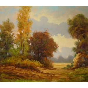 ヨーロッパ絵画 油絵 肉筆絵画 壁掛け (額縁 アートフレーム付きで納品対応可) サイズF10号サイズ ラディシー作 「風の道」|touo