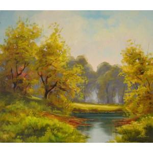 ヨーロッパ絵画 油絵 肉筆絵画 壁掛け (額縁 アートフレーム付きで納品対応可) サイズF10号サイズ ラディシー作 「陽だまり」|touo