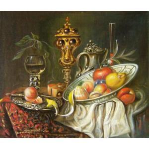 ヨーロッパ絵画 油絵 肉筆絵画 壁掛け (額縁 アートフレーム付きで納品対応可) サイズF10号サイズ レインプレヒト作 「静物画」|touo
