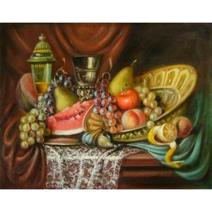 ヨーロッパ絵画 油絵 肉筆絵画 壁掛け (額縁 アートフレーム付きで納品対応可) サイズF6号 レインプレヒト作 「静物画」|touo