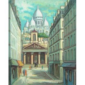 ヨーロッパ絵画 油絵 肉筆絵画 壁掛け (額縁 アートフレーム付きで納品対応可) サイズF6号 レミー作 「パリの街角」|touo