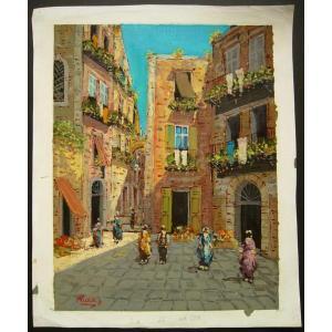 ヨーロッパ絵画 油絵 肉筆絵画 壁掛け (額縁 アートフレーム付きで納品対応可) サイズF6号 リッカ作 「パリの街角」 touo