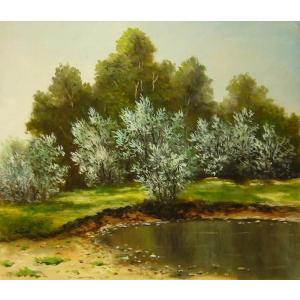 ヨーロッパ絵画 油絵 肉筆絵画 壁掛け (額縁 アートフレーム付きで納品対応可) サイズF10号サイズ サルトリ作 「池のほとり」|touo