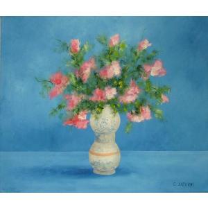 ヨーロッパ絵画 油絵 肉筆絵画 壁掛け (額縁 アートフレーム付きで納品対応可) サイズF10号サイズ サツルニ作 「花瓶の花束」|touo
