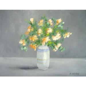 ヨーロッパ絵画 油絵 肉筆絵画 壁掛け (額縁 アートフレーム付きで納品対応可) サイズF6号 サツルニ作 「花瓶の花束」|touo
