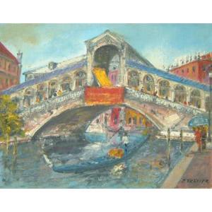 ヨーロッパ絵画 油絵 肉筆絵画 壁掛け (額縁 アートフレーム付きで納品対応可) サイズF6号 トレッティー作 「パリの街角」|touo